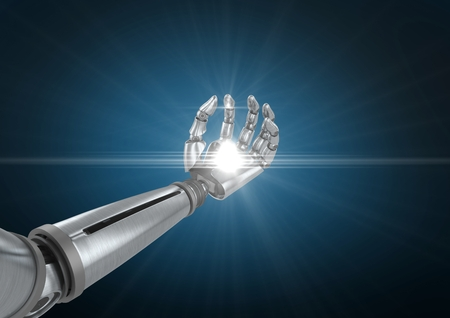Digital gnerated image of robotic hand with illuminated light against blue background Stock Photo