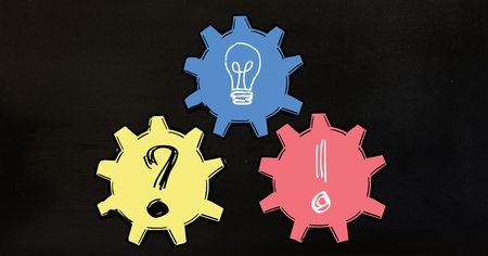 Vector illustration of bulb with and gear icon on black background Stock Photo