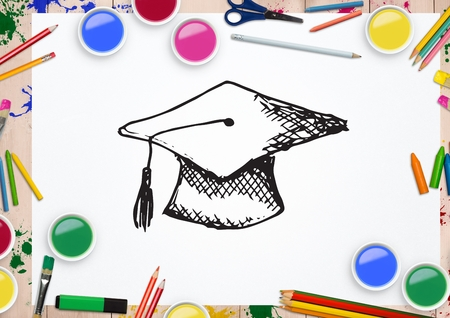 Digital composite image of hand  drawn mortarboard  with various water colors and coloring pencil on white background