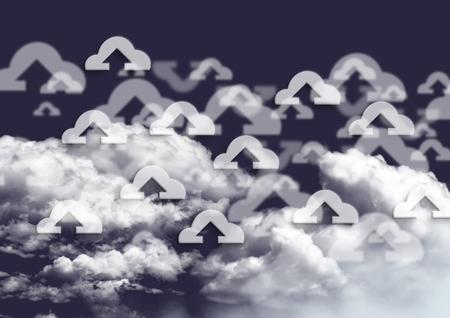 Digital generated image of connecting icons in clouds and sky Stock Photo