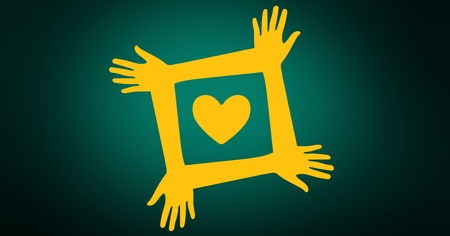smolder: Digitally generated of volunteer hands with yellow heart against green background Stock Photo
