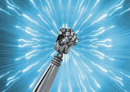 Digital composition of robot fist with sparks against blue background
