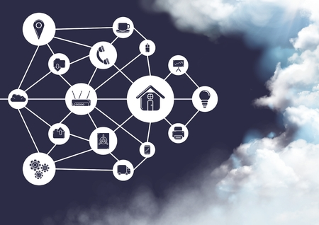 Conceptual image of cloud computing with technology icons against sky in background