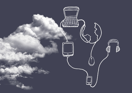 Digital composition of cloud with connecting icons against grey background