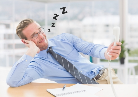 career fair: Digital composite image of tired male executive holding phone and relaxing at desk