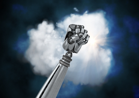 Digital generated image of metal robotic fist against cloud Stock Photo