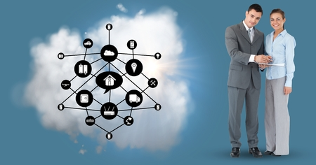 Digital composition of  businesspeople with networking icons and cloud against blue background