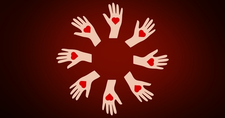 disbelief: Conceptual image of charity with heart symbol on hands against red background