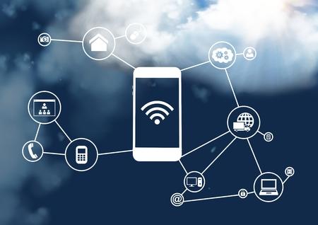Digitální složení mobilního telefonu a připojení ikon s oblačností na obloze