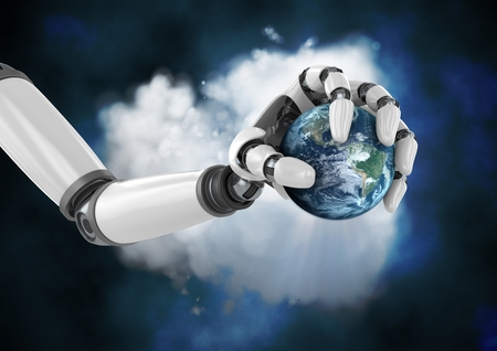 Digital composition of robot hand holding globe in front of cloud