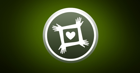 Digitally generated charity icon against green background