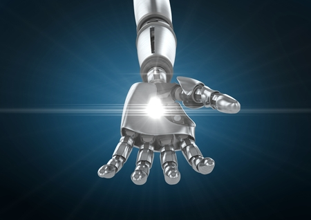 Digital composition of robot hand with white light  against blue background