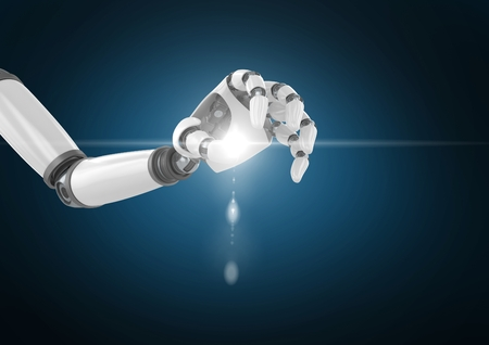 cropped: Digitally generated image of robot hand with light flare against blue background