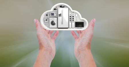 copy machine: Digital composition of hand holding a cloud shape with home appliance Stock Photo