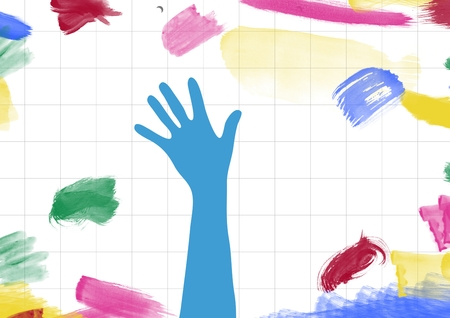 cropped: Digital composition of drawn hand shape on paper with color strokes