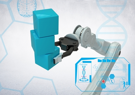 briefing: Digital composition of white robot claw holding blue blocks against white background Stock Photo