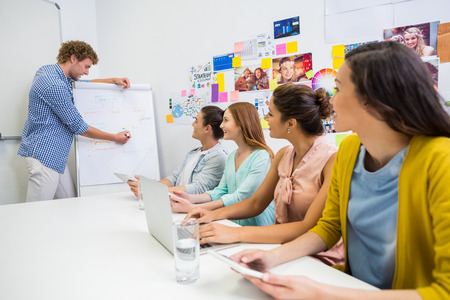 Team of executives having discussion over flip chart in office Stock Photo