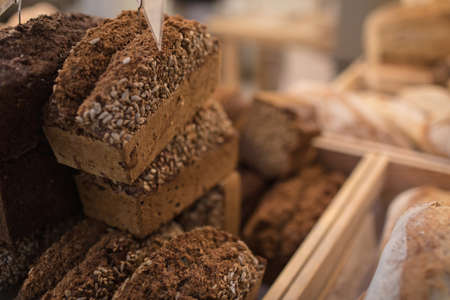 Close-up rye bread kept at the bakery counter in the supermarket