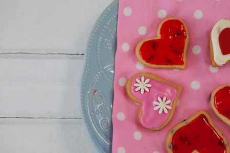 Close-up of heart shape gingerbread cookies on plate