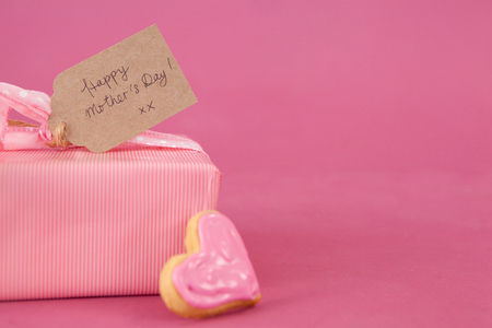 Close-up of gingerbread cookie with gift box on pink background