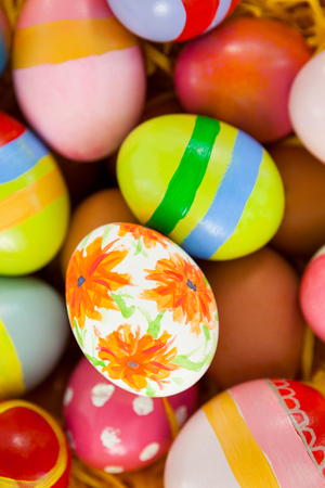 Close up of colorful painted easter eggs