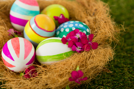 Close-up of painted Easter eggs in the nest