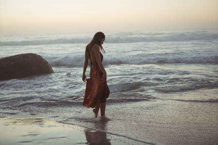sea scenery: Rear view of woman posing on beach at dusk