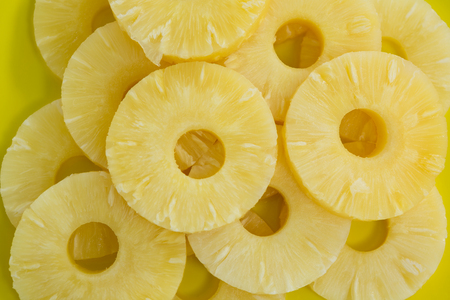 Close-up of pineapple slices in plate