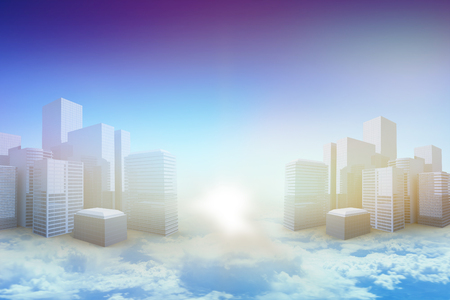 applauding: Blurry animated flare against blue sky over clouds at high altitude 3d