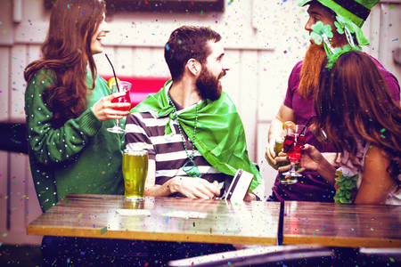 Flying colours against friends celebrating st patricks day 3d