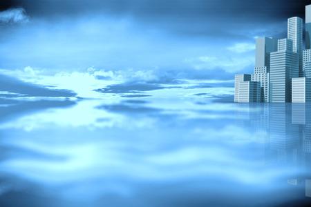 aplaudiendo: cityscape against purple sky with orange clouds 3d Foto de archivo