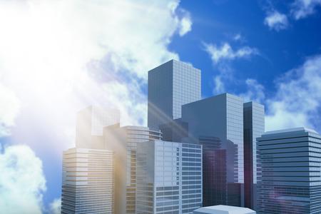 aplaudiendo: Blurry animado llamarada contra el cielo azul brillante con nubes 3d