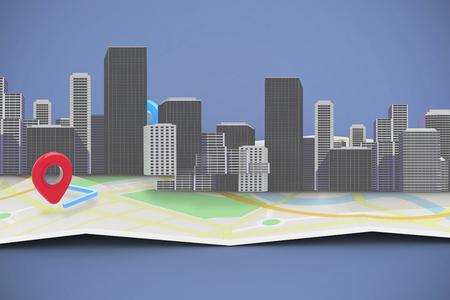 cityscape against vignette 3d