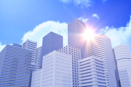 Blurry animated flare against bright blue sky with clouds 3d Stock Photo