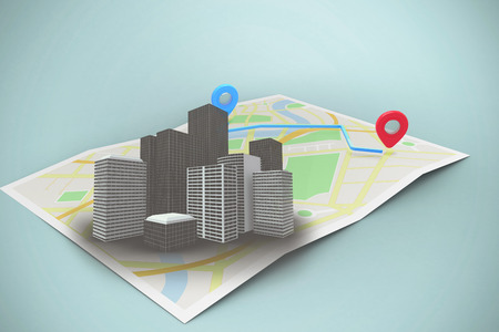 Composite image of a map itinerary against vignette 3d Stock Photo