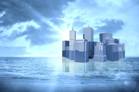 aplaudiendo: Imagen tridimensional de edificios modernos contra la salida del sol sobre el mar mágico 3d Foto de archivo
