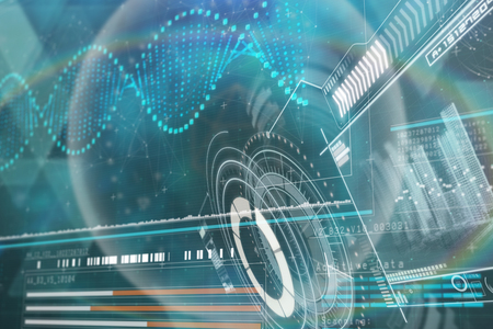 Immagine generata Digital della manopola del volume con i dati grafici contro il diagramma dell'elica di DNA 3d Archivio Fotografico - 75184070
