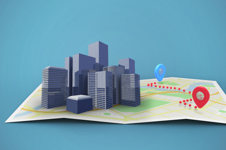 Map showing a route against blue 3d Stock Photo