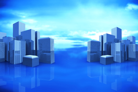 cityscape against blue sky with blue clouds 3d Stock Photo