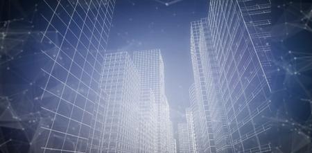 patrick's: Illustrative image of city against purple vignette 3d