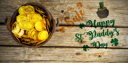 st  patrick's day: Print against golden coins Stock Photo