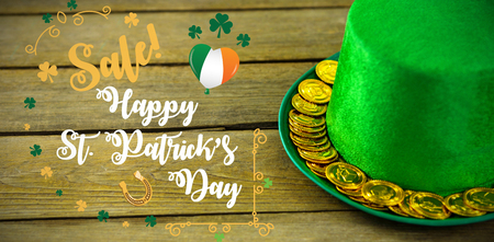 17th march: Print against st patricks day leprechaun hat with gold chocolate gold coins 3d