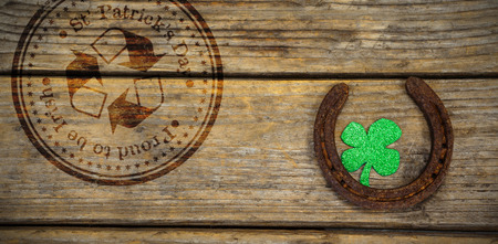 acclamation: Composite image of St Patrick Day with recycling symbol against horse shoe and shamrock