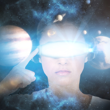 side viewing: Woman wearing virtual video glasses against composite image of solar system against white background 3d