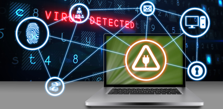 Laptop against white background against virus background 3d Stock Photo