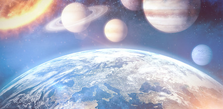 country side: Graphic image of solar system against space view of planet earth