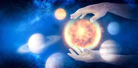 Cropped hands of man gesturing against graphic image of various planets 3d Stock Photo