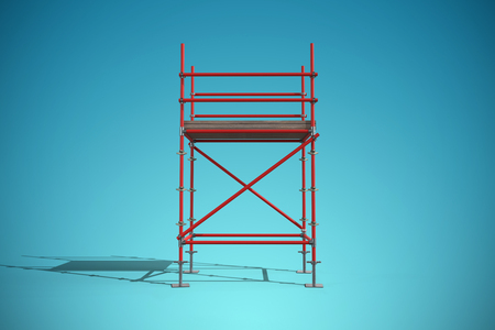 Three dimension image of red scaffold frame against blue vignette background