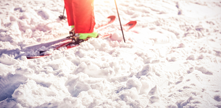 Low section of skier standing on snowy field