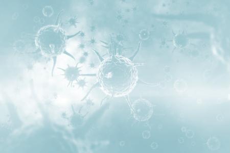 infectious disease: Digital image of blue virus in human body